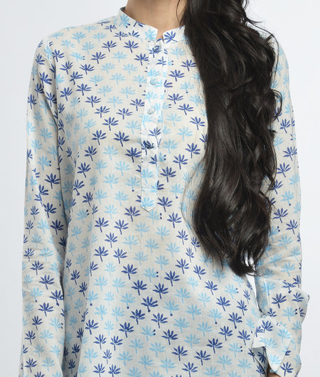 hand block  printed off white and blue Mulmul cotton Kurta