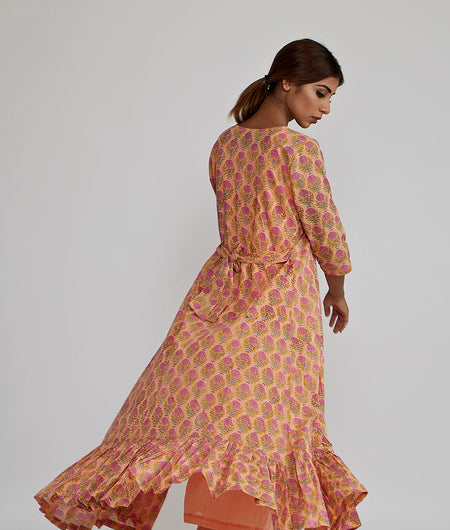 Peach Rose Block Printed Cover Up Jacket