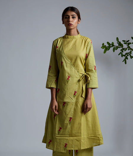Olive Green Block Printed Wrap Kurta With Pants