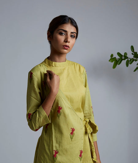 Olive Green Block Printed Wrap Kurta