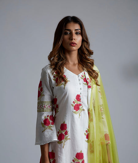 Magenta rose block printed kurta