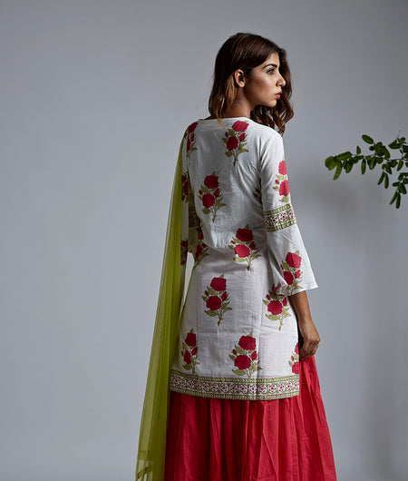 Magenta rose block printed kurta with skirt