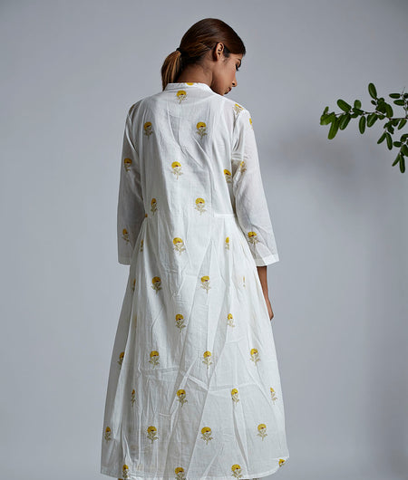 Mini Yellow Block Printed Bhopali Jacket Kurta