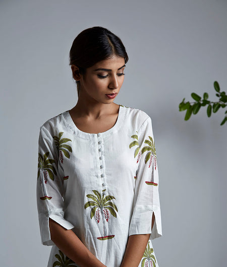 Palm Tree Block Printed A Line Kurta