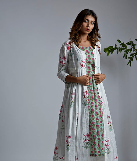 Green Block Printed gathered Kurta with White cotton Pants and Cover Up