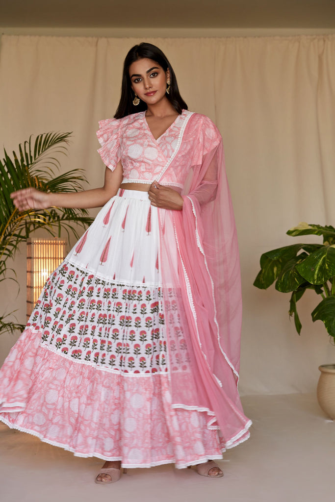 Hand Block Pink And Off white MulMul Lehenga Set