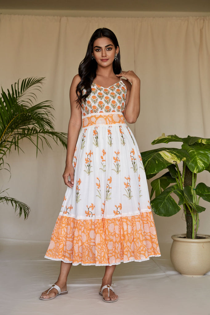Hand Block Tangerine And Off white MulMul Maxi