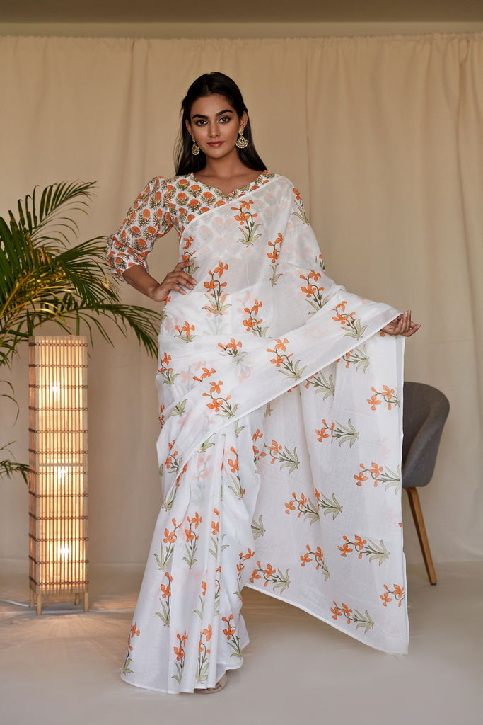 Hand Block Tangerine And Off white MulMul Saree with Blouse