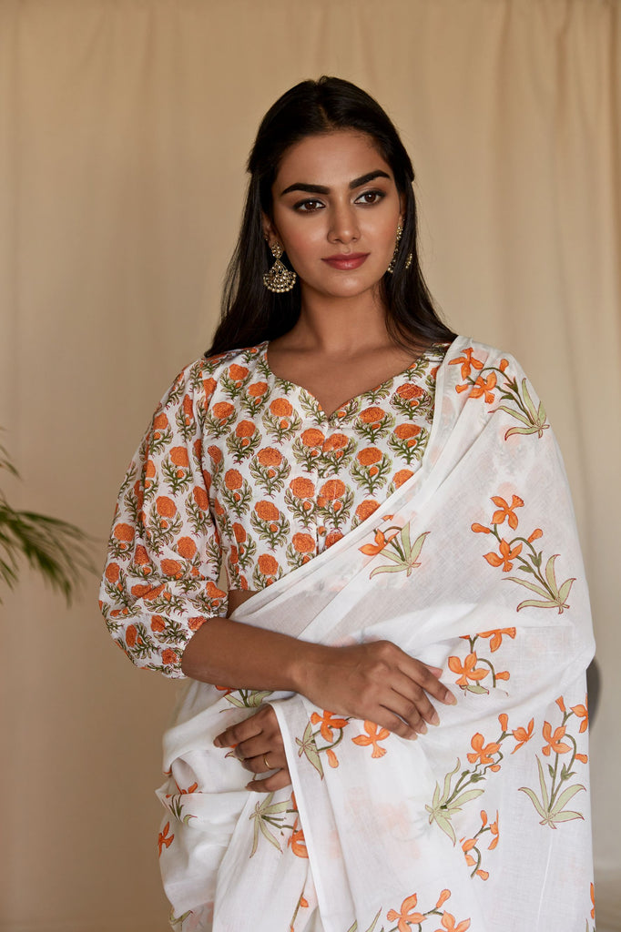 Hand Block Tangerine And Off white MulMul Blouse