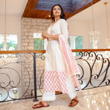 Hand Block White Cotton Suit Set