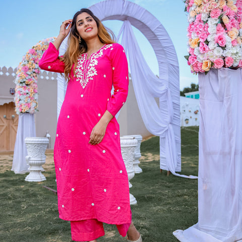 Solid Pink Cotton Kurta Set