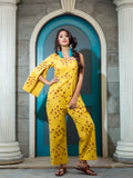 Hand Block Yellow Rayon Jumpsuit