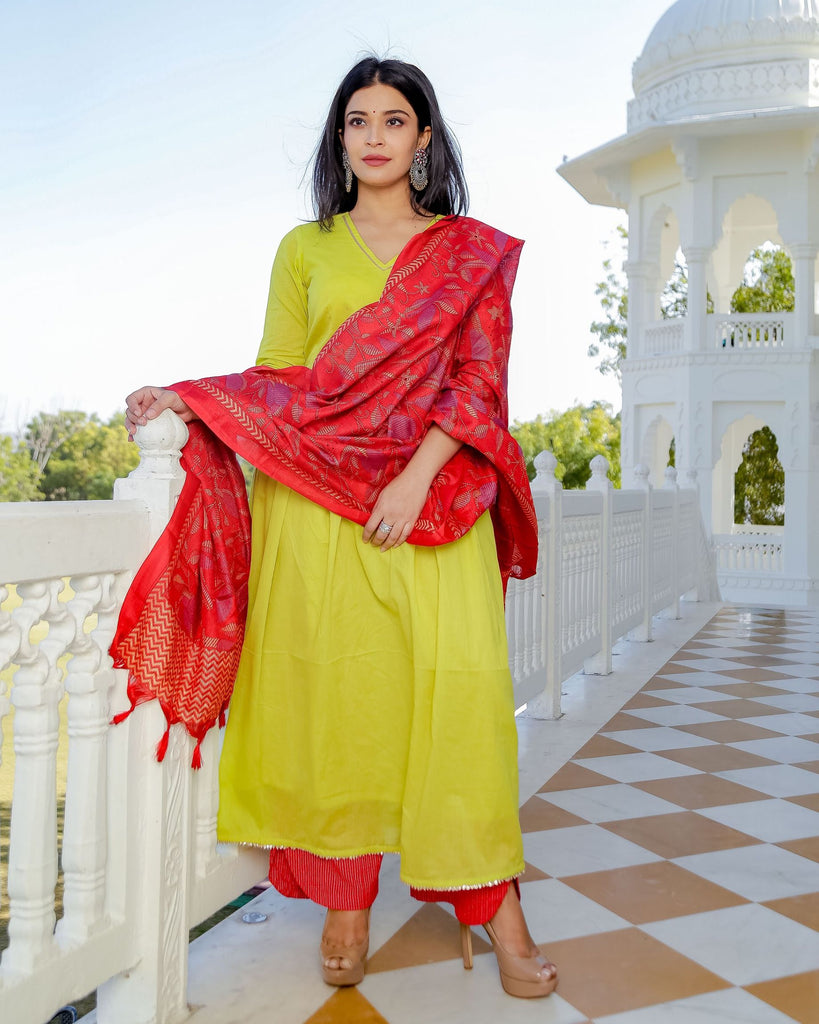 Solid Lime Yellow Cotton Suit Set