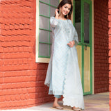 Solid Blue Chanderi Suit Set