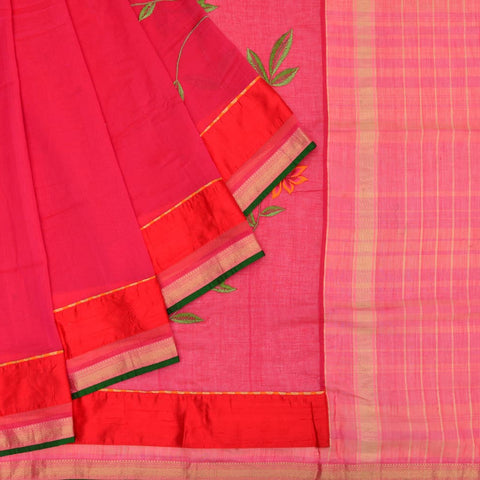 maheshwari rani pink silk embroidery Work Saree