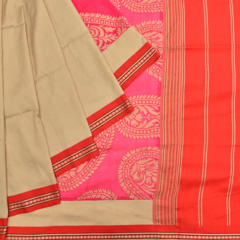 kanchipuram beige silk Uppada weave Work Saree