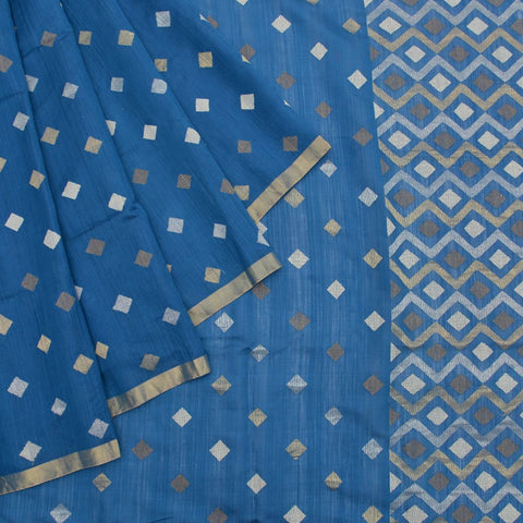 blue muga silk block print Work Saree