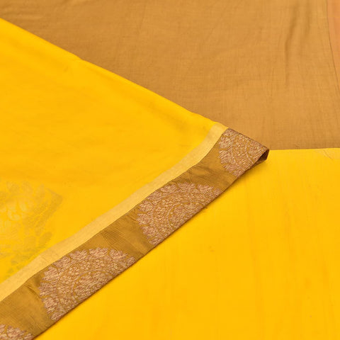 kanchipuram rust yellow silk kanchipuram-banaras Work Saree