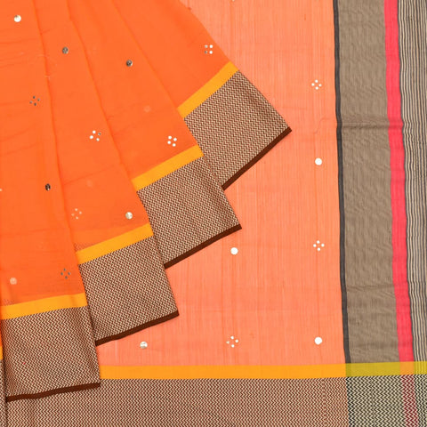 maheshwari orange silk Foil Print Work Saree