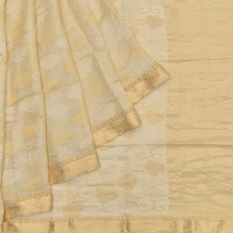 beige muga silk handwoven Work Saree
