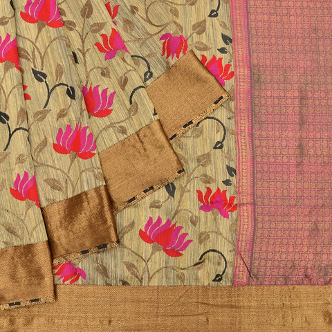 Banarasi beige silk handwoven Work Saree