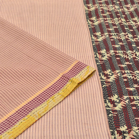 pink cotton Kantha Work Saree
