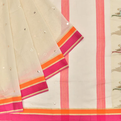 off white silk handwoven Work Saree