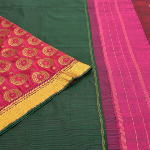 Kanchipuram dark green silk kanchipuram-banaras Work Saree