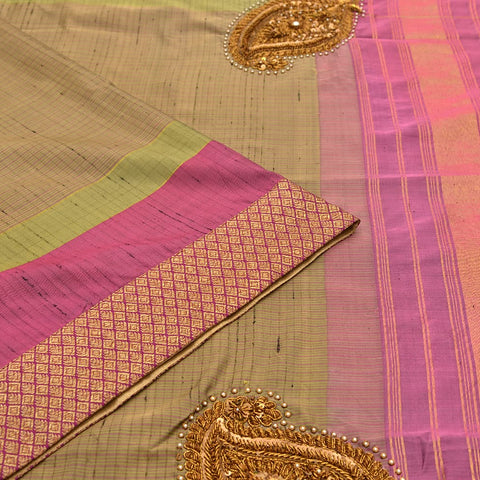 Kanchipuram rust silk handwoven Work Saree