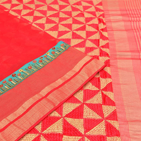 maheshwari red silk Phulkari Work Saree