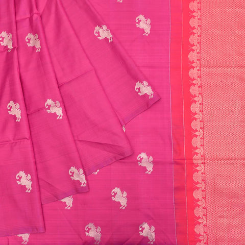 Kanchipuram rani pink silk handwoven Work Saree