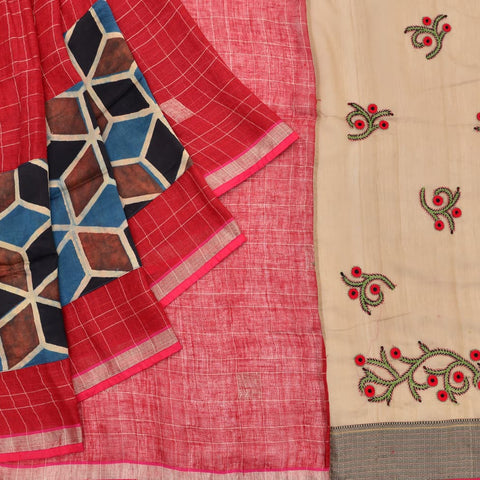 ajrakh red cotton Ajrakh Work Saree