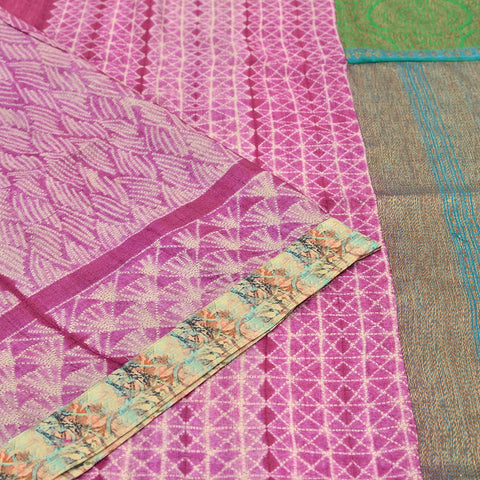 purple tussar Shibori Work Saree