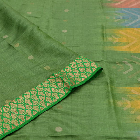Banarasi green muga silk handwoven Work Saree
