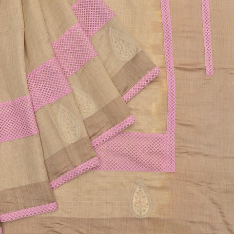 grey khadi embroidery Work Saree