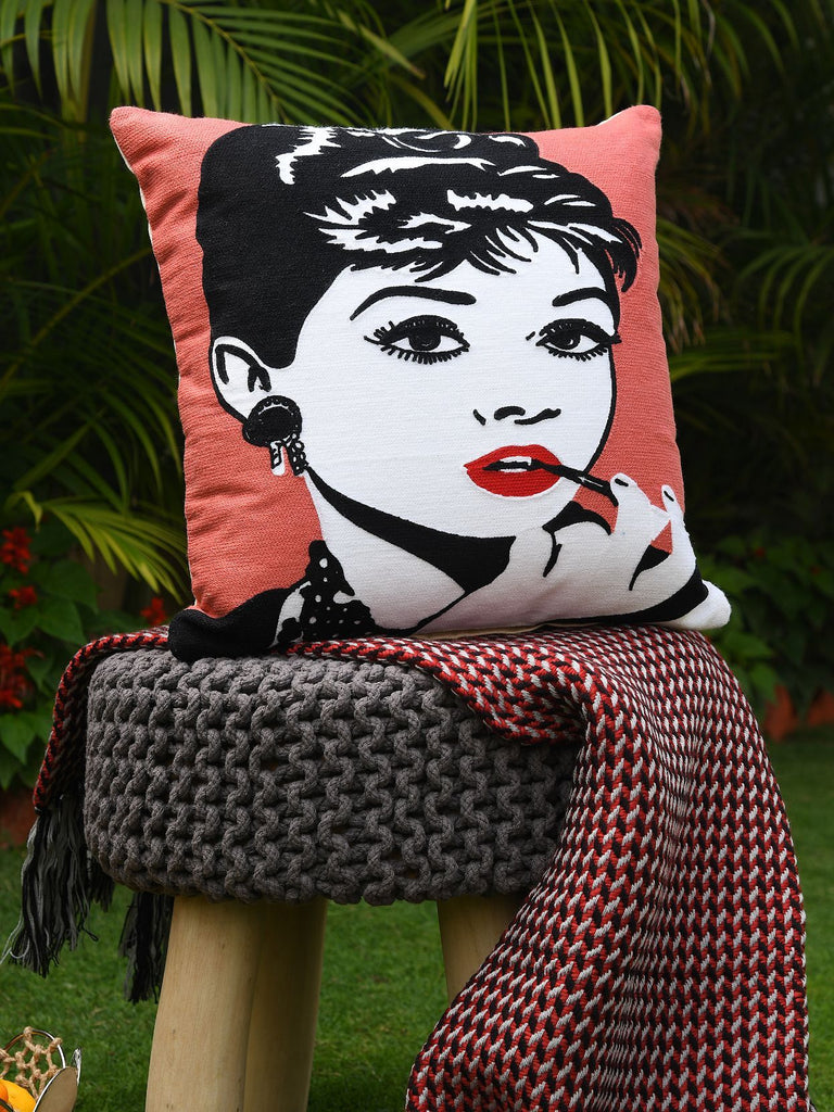 Retro Vintage Pop Art Audrey Hepburn Cushion Cover