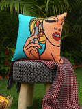 Retro vintage pop art girl holding a lipstic cushion cover