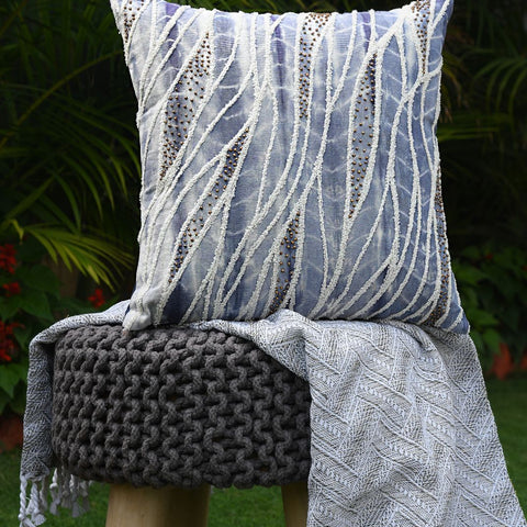 Cotton Duck Shibori Dyed Waves Design Embroidered With Beads Handcrafted Cushion Covers (Set of 2)