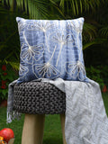 Cotton Shibori Dyed Flower Design With Cord Embroidery And Beads Handcrafted Cushion Covers (Set of 2)