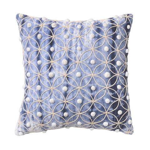 Cotton Duck Shibori Dyed With Cord Embroidery And Crochet Work Handcrafted Cushion Covers (Set of 2)