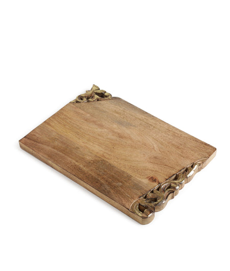 Exclusively Crafted Royal Look Hand Carved Gold Foiled Edges Exclusive Design Wooden Chopping Board