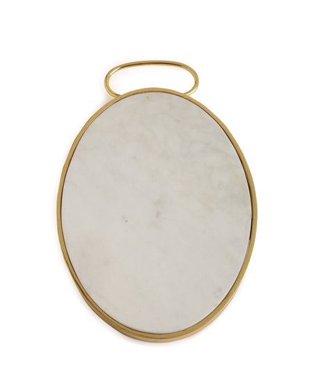 Exclusive Collection Stunning Marble Chopping Board with Beautiful Golden Metal Rim and Handle