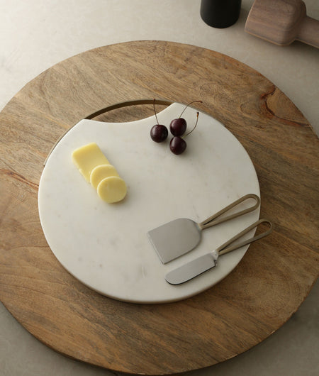Exclusive Collection Stunning Marble Chopping Board with Beautiful Golden Metal Rim and Handle with Matching Cheese Tool Set