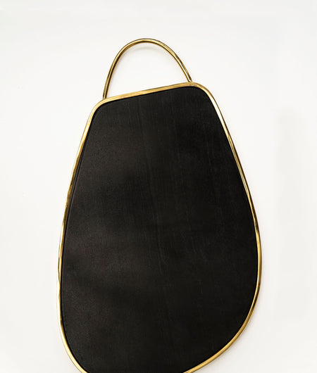 Exclusive Collection Stunning Black finish Stone Chopping Board with Beautiful Golden Metal Rim and Handle