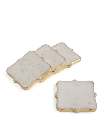 Exclusively Designed Gold Foiling Distinctive shape Marble Coasters set of 4