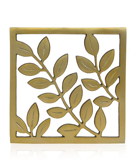 Dining Table Essential Elegant Leaf Design Rectangular Trivet in Matt Gold Finish