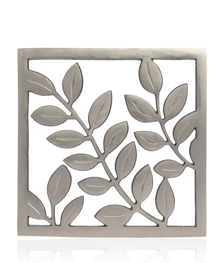 Dining Table Essential Elegant Leaf Design Rectangular Trivet in Matt Silver Finish