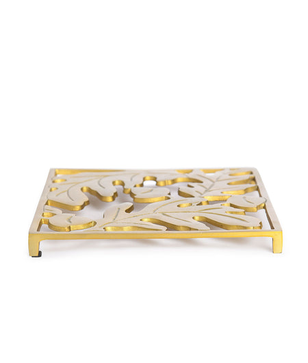 Dining Table Essential Elegant Design Rectangular Trivet in Matt Gold Finish