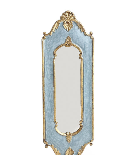 Unique Wooden Mirror In Blue With Gold Foil