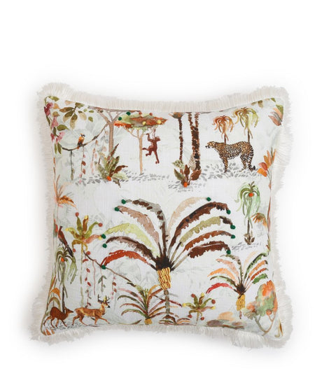 Beautiful Forest Printed Cushion Cover With Fringes